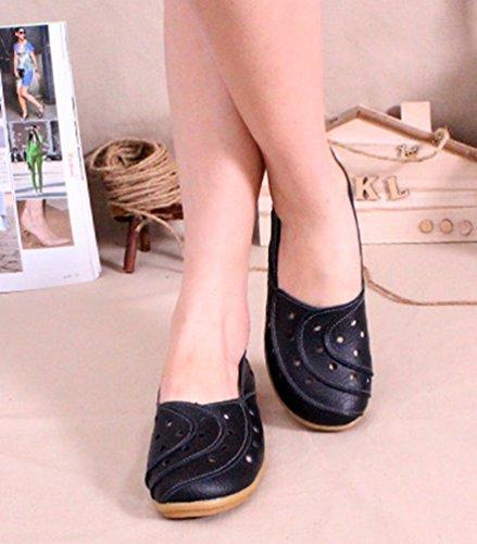 YAANCUN Mujeres Retro Hueco Conducción Coche Zapatos Casuales Comodidad Cuero Mocasín Pisos Negro