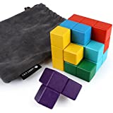 SainSmart Jr. 7 Bricks Sparkle Color Soma Wood Tetris Cube, Come with Carry Bag, Toy for Fostering S.T.E.M. Skills