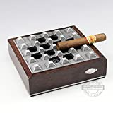 Wooden metal cigar ashtray,Removable Portable Square cigar ashtray-B