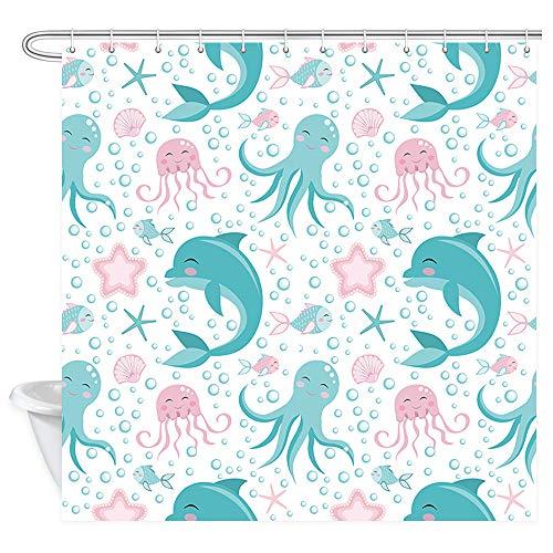 Cartoon sea Animals Decor Shower Curtain, Octopus Dolphin Jellyfish Marine Life Kid Polyester Fabric Shower Curtains Bathroom Curtain Accessories with Hooks 69X70 ()