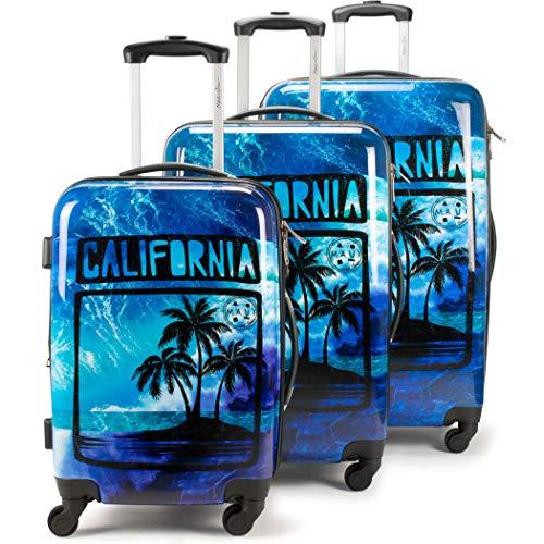 Maui and Sons 3 Piece Expandable Hardside Spinner Luggage Set with TSA - Luggage Set California Expandable