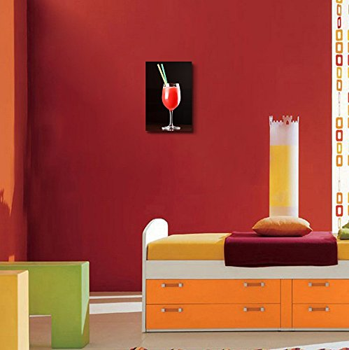 Tasty Red Cocktail with 2 Straws Beverage Wine Photograph Wall Decor