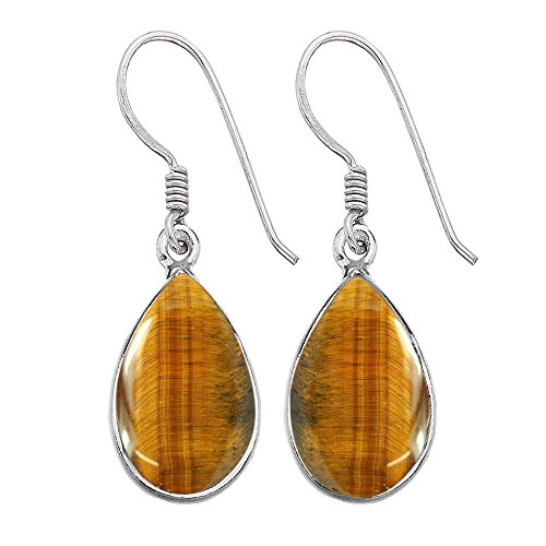 12.00ct,Genuine Tiger Eye & 925 Silver Plated Dangle Earrings Made By Sterling Silver Jewelry ()