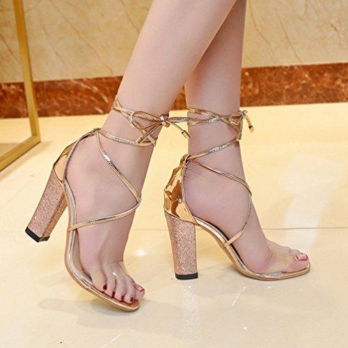 JITIAN Sandales Talons Hauts Femmes Chaussures Brillant Lacet Cheville Transparent Sandale Bout Ouvert Or kPuEqs