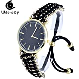 Wal-Joy Women's Knitted Band With Gold Chain Classical Dial Bracelet Rope Watch Full Black