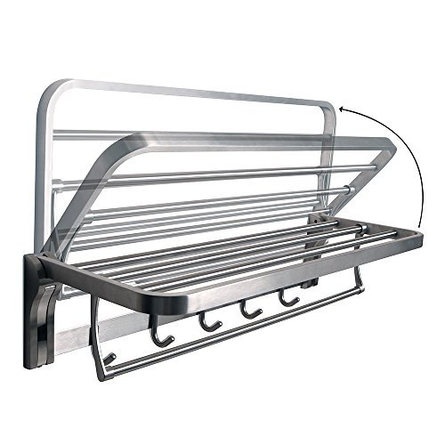 Alise Towel Rack Bathroom Folding Shelf with Swing Towel Bar and 5 Hooks Heavy Duty Wall Mount,SUS304 Stainless Steel Brushed Finish by Alise