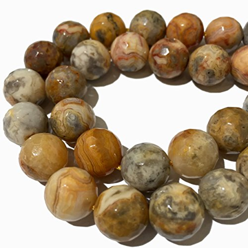 Mexican Crazy Lace - [ABCgems] Mexican Crazy Lace Agate- Beautiful Matrix (4 Strands Lot) 12mm, 10mm, 8mm, 6mm Faceted Round Beads. Each Strand 8
