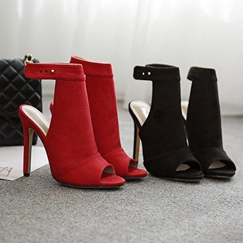 ZHZNVX Stilvolle Farbe satin High Heels Heels Heels sexy hochhackigen Sandalen ausgesetzt f70076