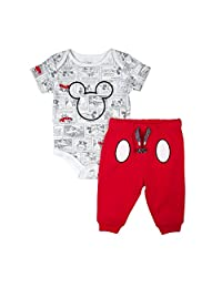 Disney Kid's Mickey Pant/Creeper Set, Red, NB