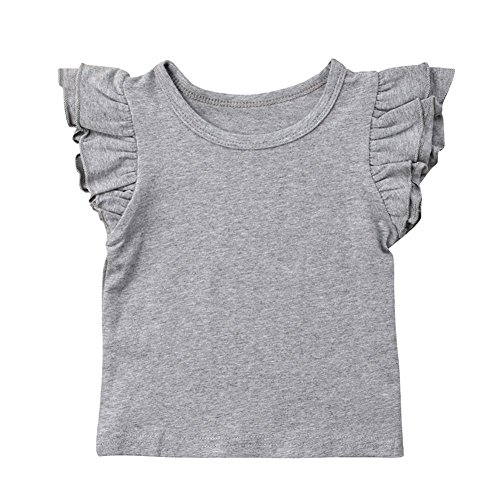 Infant Toddler Baby Girl Top Basic Plain Ruffle T-Shirt Blouse Casual Clothes (6-12 Months, Grey) ()