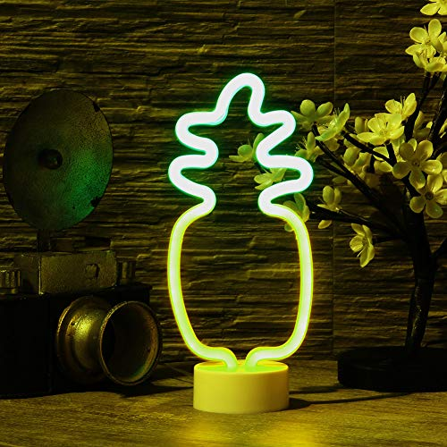 (Pineapple Neon Signs, LED Neon Light Sign with Holder Base Operated by Battery/USB for Party Supplies Home Decor Ideal for Bedroom, Lounge, Office, Wedding)