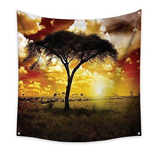 Safari Wall Tapestry Single Tree at Dreamy African Sunset with Dark Dramatic Clouds on The Sky Art Colorful Tapestry 39W x 39L InchGreen Red White