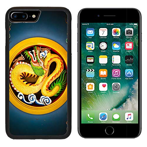 Liili iPhone 7 plus Case iPhone 8 plus Case Silicone Bumper Shockproof Anti-Scratch Resistant Tempered Glass Hard Cover Golden Dragon in circle with vignette IMAGE ID (Full Color Floral Vignettes)
