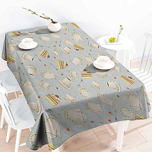 EwaskyOnline Rectangular Tablecloth,Tea Party Coffee Pot Teapot Spoons Plates and Creamy Slices of Cake with Cherries,Dinner Picnic Table Cloth Home Decoration,W52x70L, Bluegrey Red Green