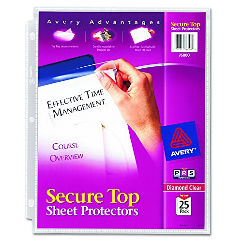 Avery Secure Top Sheet Protectors, Heavy Gauge, Letter Size, Diamond Clear, 25 per Pack (Super Heavyweight Sheet Protector)