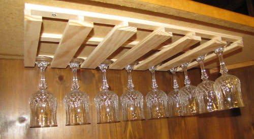 """10 wine glass stemware holder 6/"""" deep under cabinet rack"""