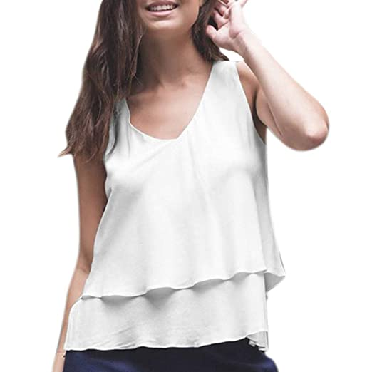 46eefc36e85817 Witspace Women Sleeveless Chiffon Blouse Casual Lady Summer V Neck Pleated Shirts  Tops at Amazon Women's Clothing store: