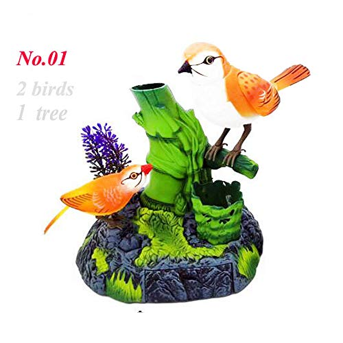(Sounds Control Chirping Bird Parrot Motion Sensor Christmas Ornament Real Singing Movement Battery Operated with Pen Holder Beautiful , Color May Vary)