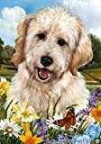 Goldendoodle White – Best of Breed Summer Flowers Large Flags