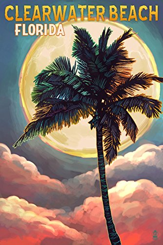 Clearwater Beach, Florida - Palm and Moon (9x12 Art Print, Wall Decor Travel Poster) ()