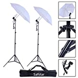 Safstar Photography and Video Day Light Umbrella Continuous Lighting Kit with Stands (2 white umbrellas)