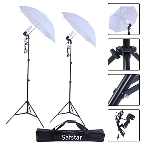 Safstar Photography and Video Day Light Umbrella Continuous Lighting Kit with Stands (2 white umbrellas) by S AFSTAR