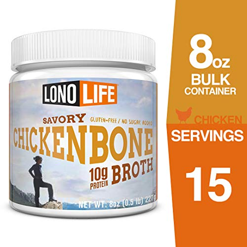 LonoLife Chicken Bone Broth Powder with 10g Protein, 8-Ounce Bulk Container - Free Range Chicken Broth Soup