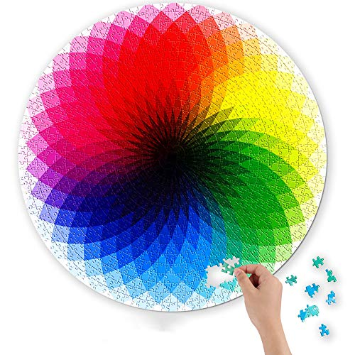 D-FantiX Jigsaw Puzzles 1000 Pieces for Adults Kids, Large Round Jigsaw Puzzle Rainbow Palette 1000 Color Puzzle Games Toy
