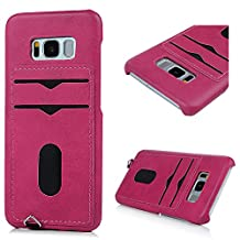 Galaxy S8 Case, YOKIRIN Premium Handcrafted [Ultra Slim] PU Leather Back Case Cover with ID Credit Card Slot Holder Protective Cover Skin Shell for Samsung Galaxy S8, Rose