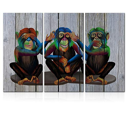 LoveHouse 3 Pieces Funny Gorilla Wall Art Modern Monkey Animal Canvas Print Wooden Background See Hear Speak No Evil Ape Chimpanzee Painting Artwork Decor for Kids Room Living Room Stretched 16x32cmx3