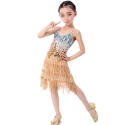 9ff53e029 Ybriefbag-Clothing Tango Dance Dress Outfits Girls Latin Dance Dress  Children Kids Sequin Fringe Stage