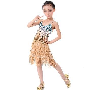 Peng sounded Niñas Vestido de Baile Latino Niños Niños Lentejuelas ...