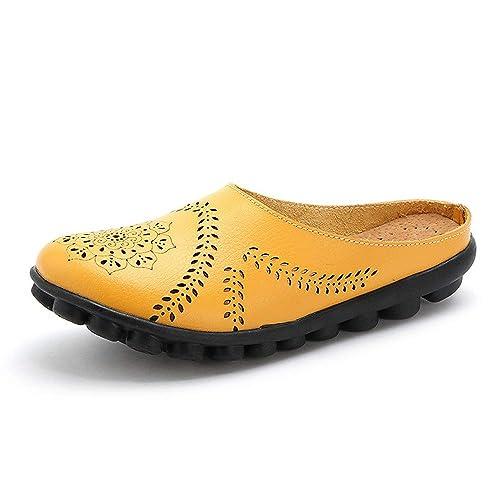 Mocasines de Cuero Mujer Moda Loafers Suave Ocio Pisos Zapatos Cómodos Zapatillas Casuales: Amazon.es: Zapatos y complementos