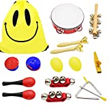 ShaqMars Musical Instruments for Toddlers,14pcs Wooden Percussion Instruments Toy for Kids Preschool Educational,Rhythm & Music Education Toys Set for Boys and Girls with Storage drawstring bag
