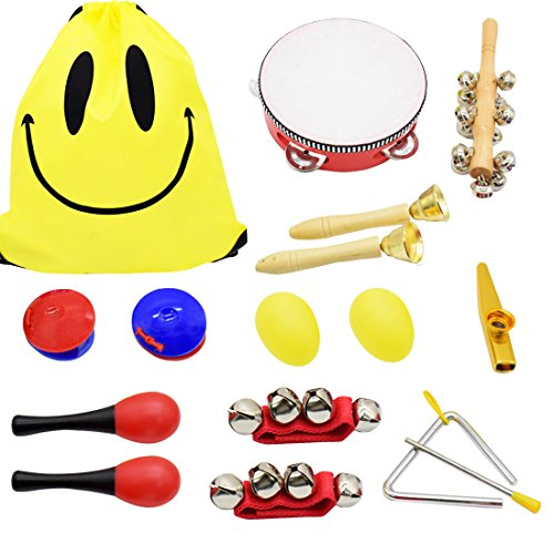 ShaqMars Musical Instruments for Toddlers,14pcs Wooden Percussion Instruments Toy for Kids Preschool Educational,Rhythm & Music Education Toys Set for Boys and Girls with Storage drawstring bag by ShaqMars