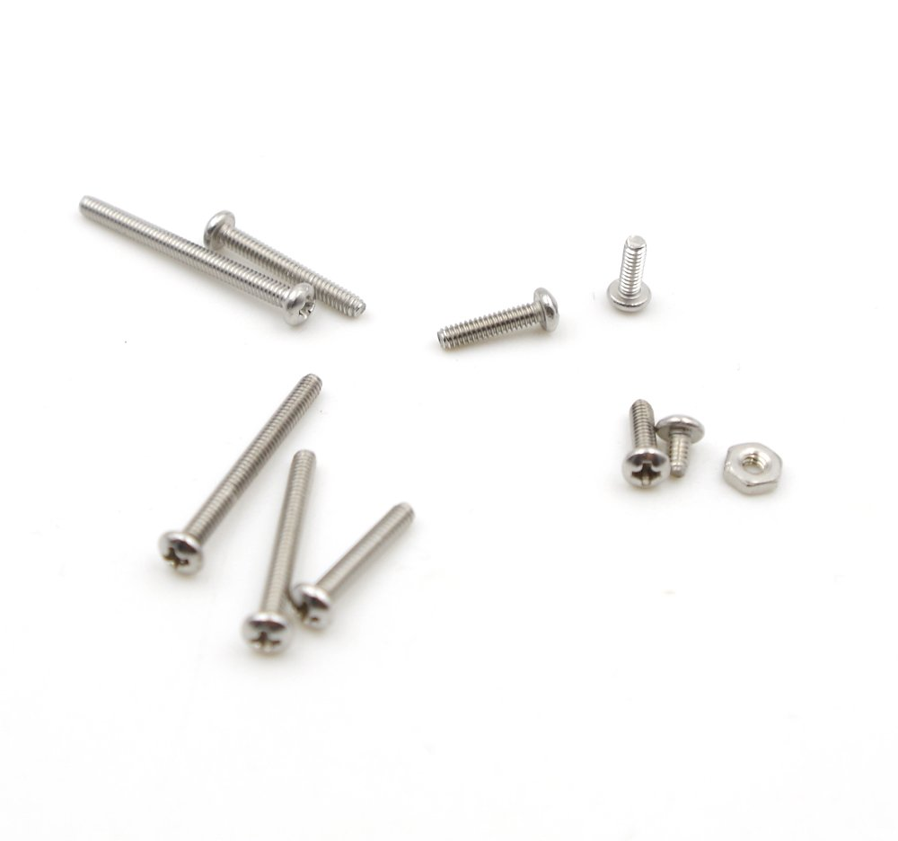 HVAZI #6-32 UNC Stainless Steel Phillips Pan Head Machine Screws Nuts Flat Washers Assortment Kit