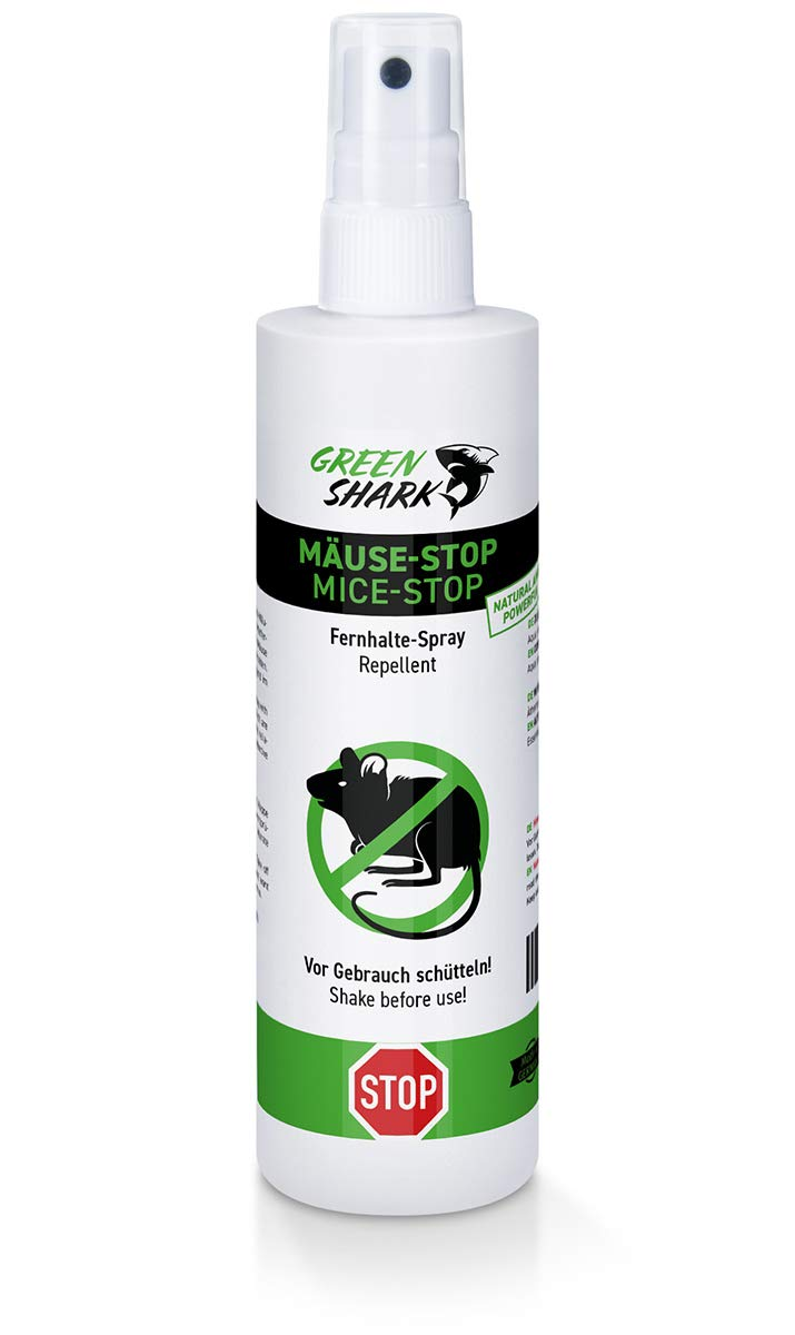 GreenShark Mä use-Stop Mä useabwehr-Spray, Fernhaltemittel gegen Mä use und Nager, Biologische Alternative zur Mausefalle, Mä useschreck, Ultraschall-Vertreiber, Mä usekö der - Natü rliches Anti Mä use-Spray