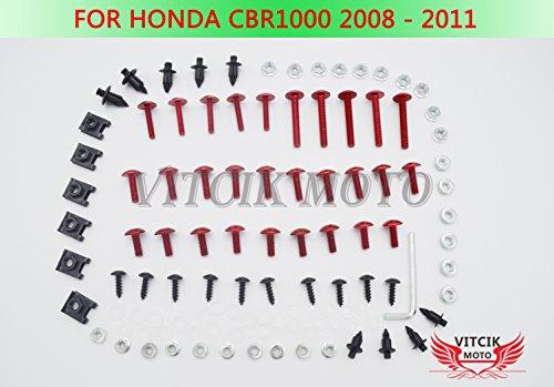 VITCIK Full Fairings Bolt Screw Kits for Honda CBR 1000 RR 2008 2009 2010 2011 CBR 1000 RR 08 09 10 11 Motorcycle Fastener CNC Aluminium Clips (Red & Silver)