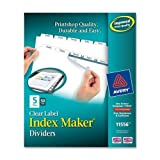 Wholesale CASE of 2 - Avery Prepunched Index Maker Dividers w/ Tabs-Index Maker, Laser, Punched, 5-Tabs, 50 ST/BX, White