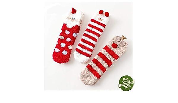Morbuy Mujer Calcetines de Navidad, Set de Calcetín de 3 pares Invierno Calcetines Suaves del día de Fiesta de las Navidades: Amazon.es: Ropa y accesorios