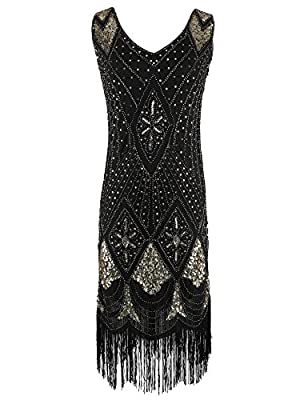 celeblink Women's 1920s Dress Gatsby Cocktail Sequin Beaded Flapper Dress