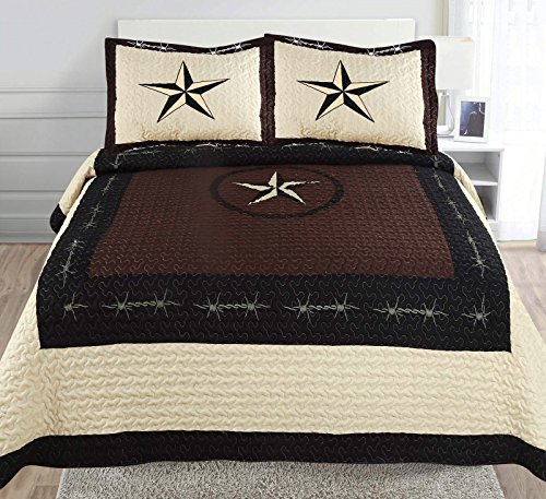 (3-piece Printed Chocolate Black Beige Western Lone Star Barb Wire, Shoe Horse Cabin / Lodge Quilt Bedspread Coverlet Set (Full/ Queen, Coffee-Wire))