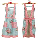 Stylish Flower Pattern Women's Fashion Floral Cotton Chef Cooking Cook Apron Bib with Pockets 13# Hyzrz