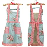 Stylish Flower Pattern Fashion Floral Cotton Girls Aprons for Chef Cooking Cook Apron Bib with Pockets 13# Hyzrz
