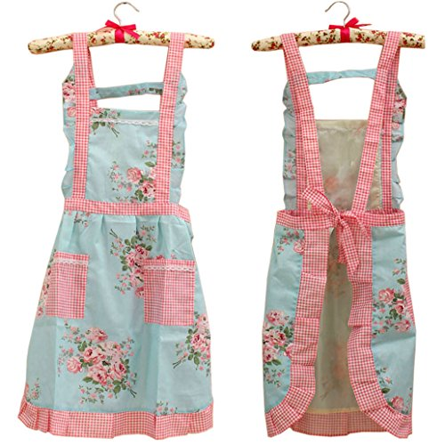 Stylish Flower Pattern Girls Women's Fashion Floral Cotton Chef Cooking Cook Apron Bib with Pockets 13# Hyzrz