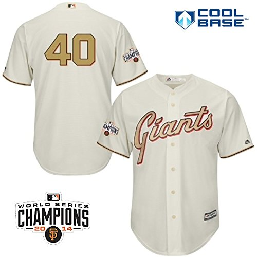 Majestic Madison Bumgarner San Francisco Giants #40 MLB Youth 2014 World Series Champions Patch Jersey (Youth Small ()