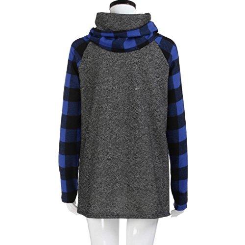 Manica Felpa Pullover Tunica Manica Blu LQQSTORE Blusa Dolcevita Donna Moda a Camicie Top Lunga da Plaid Lunga Casuale Autunno qZE7ngTZw