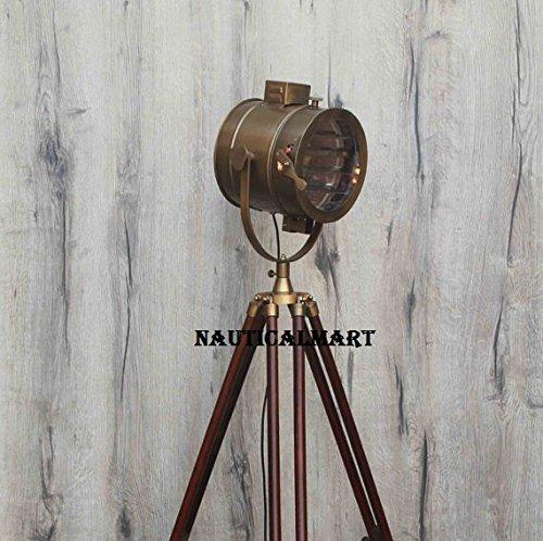 NauticalMart Antique Brass Search Light Floor Lamp For Living Room