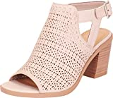 Cambridge Select Women's Open Toe Laser Cutout Perforated Chunky Stacked Heel Ankle Bootie,8 B(M) US,Light Taupe NBPU