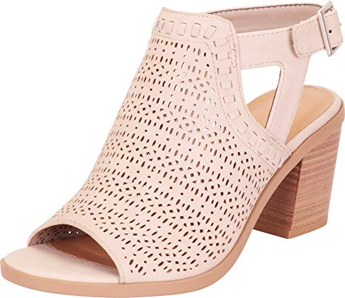 Cambridge Select Women's Open Toe Laser Cutout Perforated Chunky Stacked Heel Ankle Bootie,6 B(M) US,Light Taupe NBPU